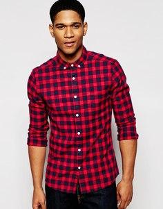 Зауженная клетчатая рубашка из саржи с длинными рукавами ASOS - Красный