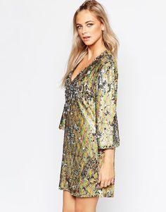Цельнокройное платье с V‑образным вырезом и пайетками Boohoo - Мульти