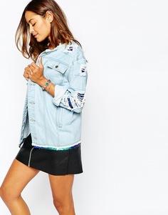 Рваная джинсовая куртка с отделкой пайетками Liquor & Poker - Синий