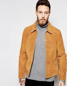 Коричневая замшевая куртка Харрингтон ASOS - Рыжий