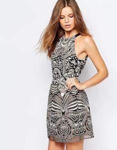 Кружевное платье мини с выжженным эффектом BCBG MaxAzria - Чрнкоричнроз.гребень0h6