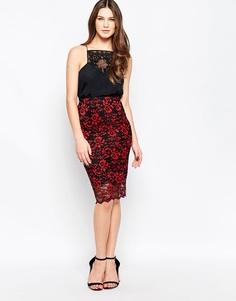 Черная кружевная юбка миди Ganni Christy