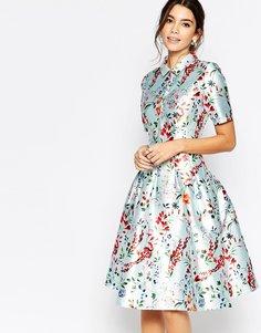 Атласное платье миди с воротником Chi Chi London - Многоцветный цветочный