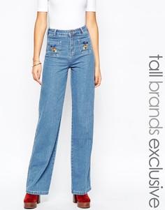Джинсы с вышивкой и широкими штанинами Glamorous Tall - Синий
