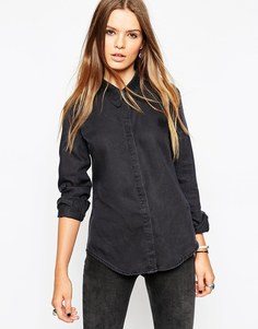 Черная джинсовая рубашка с остроконечным воротником ASOS - Выбеленный черный