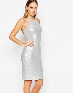 Платье миди с пайетками и высокой горловиной TFNC - Матовый серый лед