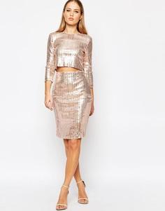 Платье миди с пайетками TFNC - Телесный с пайетками