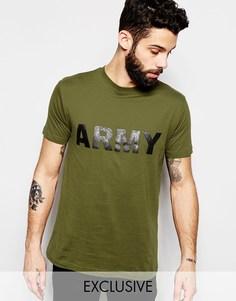 Футболка в стиле милитари Reclaimed Vintage Army - Зеленый