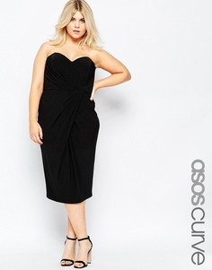 Асимметричное платье-бандо с драпировкой ASOS CURVE - Черный