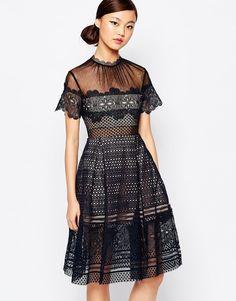 Платье миди с декоративной вышивкой Self Portrait Felicia - Темно-синий