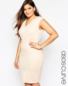 Платье-футляр с глубоким вырезом ASOS CURVE - Телесный
