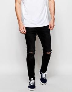 Выбеленные черные джинсы суперузкого кроя с прорехами Produkt - Выбеленный черный