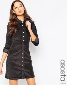 Серое вельветовое платье-рубашка в стиле вестерн ASOS TALL - Серый