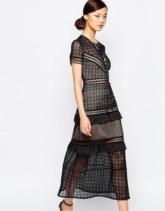 Кружевное платье миди с баской Self Portrait - Черный