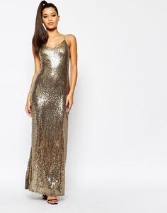 Платье макси на бретельках с блестками и пайетками Missguided - Золотой