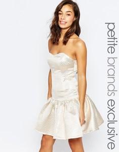 Платье для выпускного в горошек с эффектом металлик True Decadence Petite - Золотой