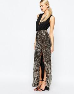 Декорированная юбка макси с разрезом Boohoo - Золотой