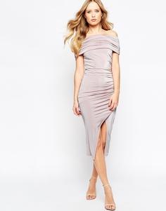 Драпированное платье миди с открытыми плечами ASOS - Сиреневый