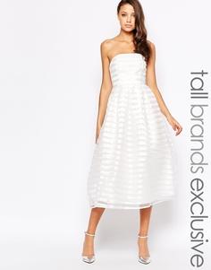 Полосатое платье миди в стиле бандо True Decadence Tall - Кремовый