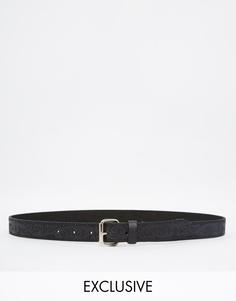 Кожаный ремень с тиснением Retro Luxe London - Черный