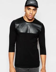 Облегающая футболка с рукавами 3/4 и вставкой под кожу ASOS - Черный