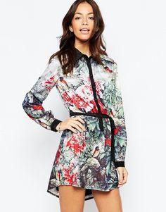 Платье-рубашка с цветами и птицами Yumi - Мульти