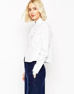 Рубашка с оборками на вороте и планке ASOS White - Белый