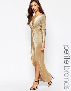 Плиссированное платье макси цвета металлик с запахом Boohoo Petite - Золотой