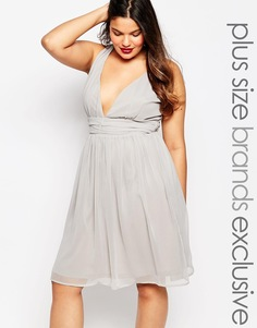 Платье миди для выпускного с глубоким вырезом и запахом Truly You - Серый