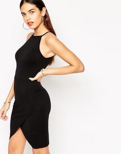 Асимметричное облегающее платье с высокой горловиной ASOS - Черный