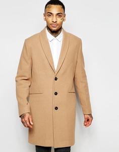 Светло-коричневое пальто с шалевым воротником ASOS - Кэмел