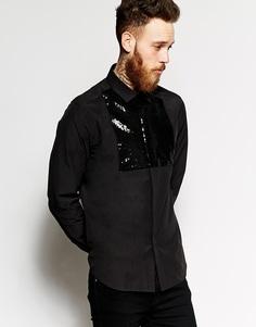 Рубашка с отделкой пайетками и длинными рукавами ASOS Black - Черный