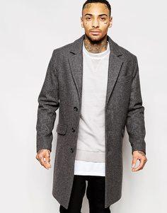 Темно-серое шерстяное пальто ASOS - Светло-серый