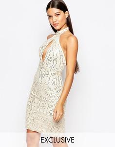 Расшитое пайетками платье миди с высокой горловиной Club L