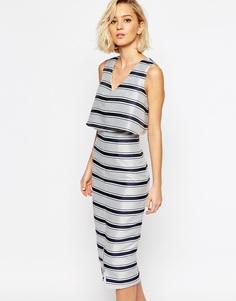 Структурированное облегающее платье в полоску с укороченным топом Lavish Alice - Мульти