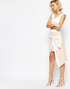 Асимметричная юбка с запахом и поясом оби Lavish Alice - Blush