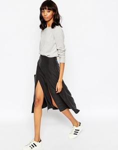 Мягкая юбка миди с запахом и разрезом ASOS - Черный