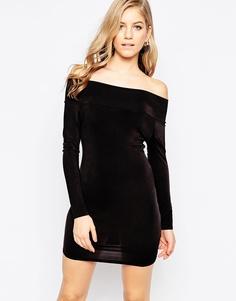 Облегающее платье с открытыми плечами и длинными рукавами Love - Черный
