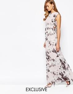 Платье макси с принтом и открытой спинкой True Violet - Цветочный
