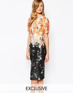 Платье-карандаш с цветочным принтом и эффектом омбре True Violet - Оранжевый принт