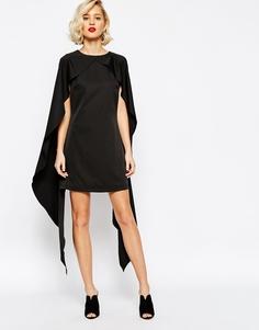 Цельнокройное платье с кейпом Lavish Alice - Черный