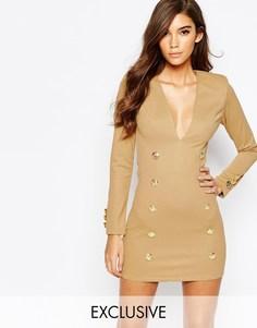 Облегающее платье с золотистыми пуговицами милитари Rare London - Кэмел