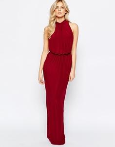 Платье макси с высокой горловиной и драпировкой Love - Глубокий винный цвет