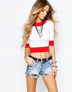 Джемпер с контрастной отделкой в рубчик Glamorous - Красный