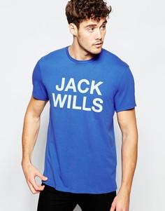 Синяя футболка с броским логотипом Jack Will - Синий