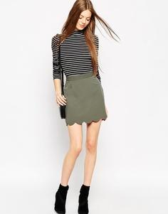 Мини юбка‑трапеция с фигурным краем ASOS - Пыльный хаки