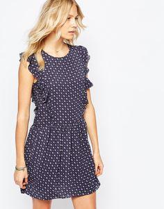Платье с принтом и оборками спереди Pepe Jeans - Синий