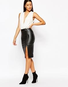 Стеганая юбка-карандаш из искусственной кожи с разрезом и молнией на боку Lipsy - Черный