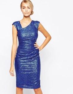 Платье миди с пайетками и асимметричной горловиной City Goddess - Синий