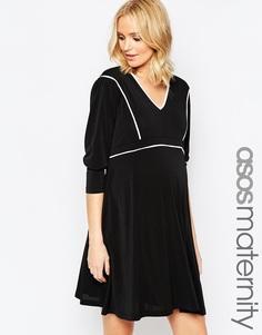 Короткое приталенное платье для беременных с кантом ASOS Maternity